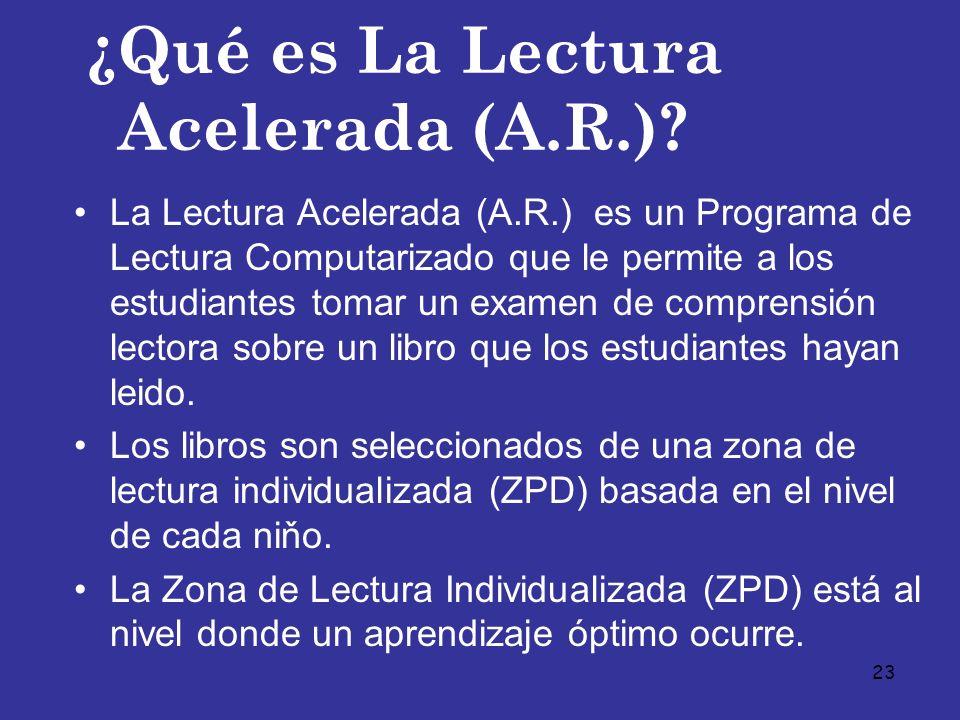 23 ¿Qué es La Lectura Acelerada (A.R.)? La Lectura Acelerada (A.R.) es un Programa de Lectura Computarizado que le permite a los estudiantes tomar un