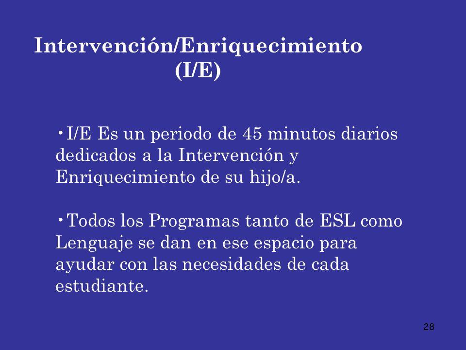 28 Intervención/Enriquecimiento (I/E) I/E Es un periodo de 45 minutos diarios dedicados a la Intervención y Enriquecimiento de su hijo/a. Todos los Pr