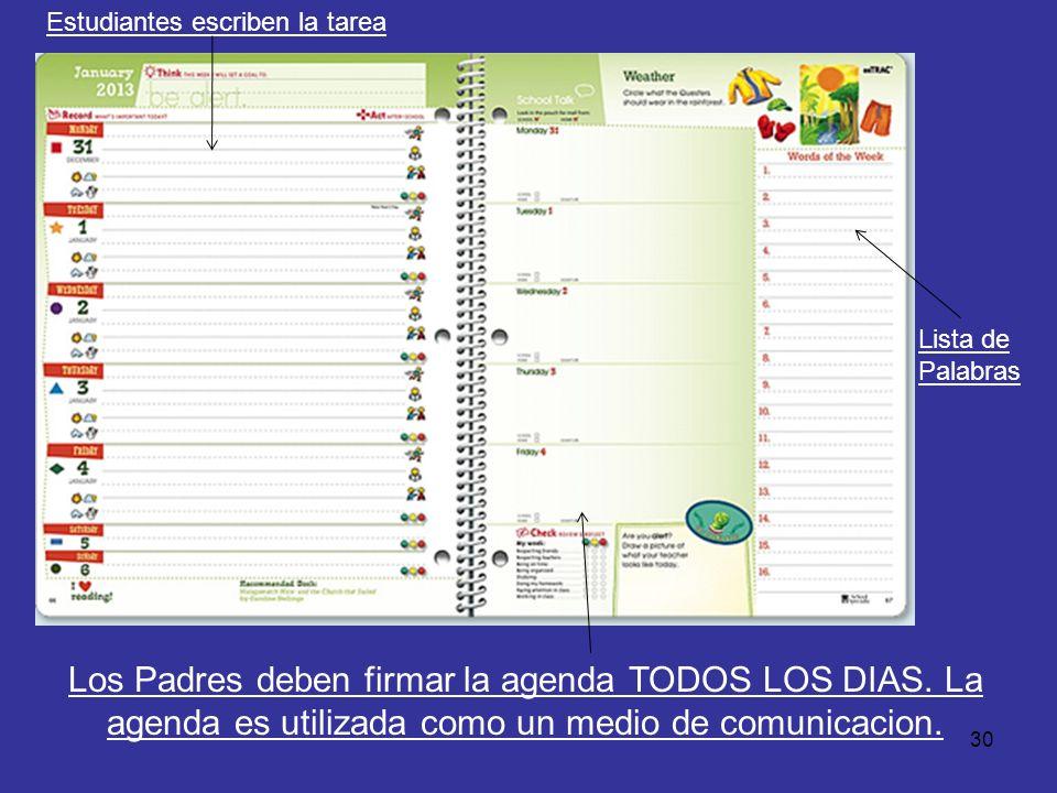 30 Estudiantes escriben la tarea Los Padres deben firmar la agenda TODOS LOS DIAS. La agenda es utilizada como un medio de comunicacion. Lista de Pala