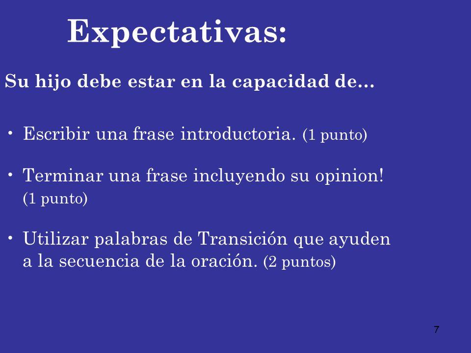 7 Expectativas: Su hijo debe estar en la capacidad de… Escribir una frase introductoria. (1 punto) Terminar una frase incluyendo su opinion! (1 punto)