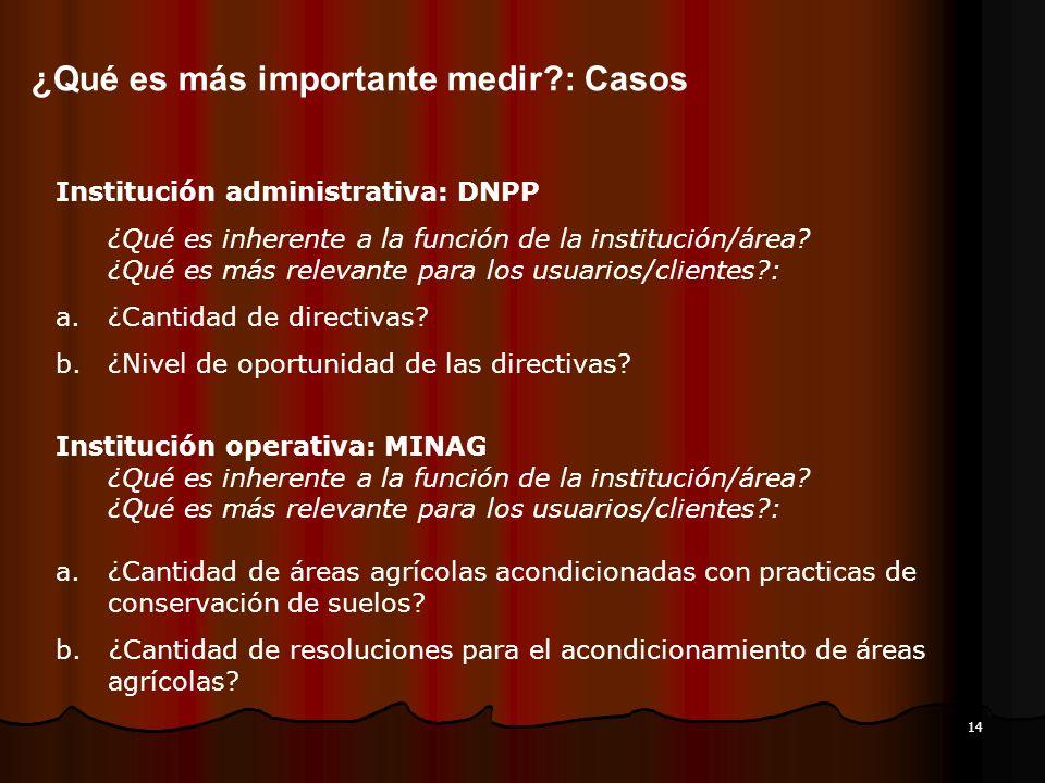 14 ¿Qué es más importante medir?: Casos Institución administrativa: DNPP ¿Qué es inherente a la función de la institución/área? ¿Qué es más relevante