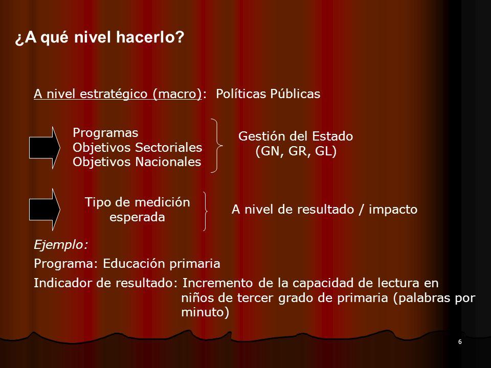 6 ¿A qué nivel hacerlo? A nivel estratégico (macro): Políticas Públicas Programas Objetivos Sectoriales Objetivos Nacionales Gestión del Estado (GN, G