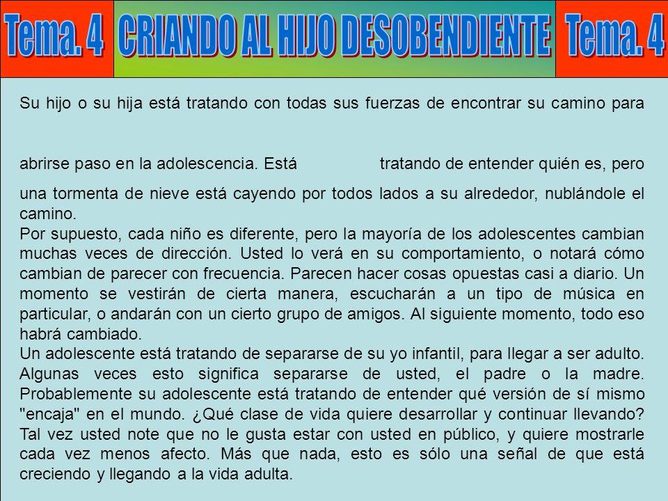 Tema 4: Desobediencia E Su trabajo y su responsabilidad son ayudar a su hijo o hija a pasar por la adolescencia.