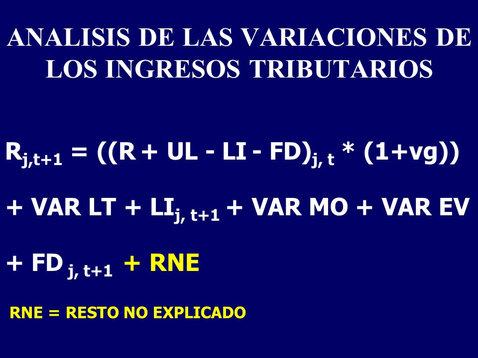 ANALISIS DE LAS VARIACIONES DE LOS INGRESOS TRIBUTARIOS R j,t+1 = ((R + UL - LI - FD) j, t * (1+vg)) + VAR LT + LI j, t+1 + VAR MO + VAR EV + FD j, t+1 + RNE RNE = RESTO NO EXPLICADO
