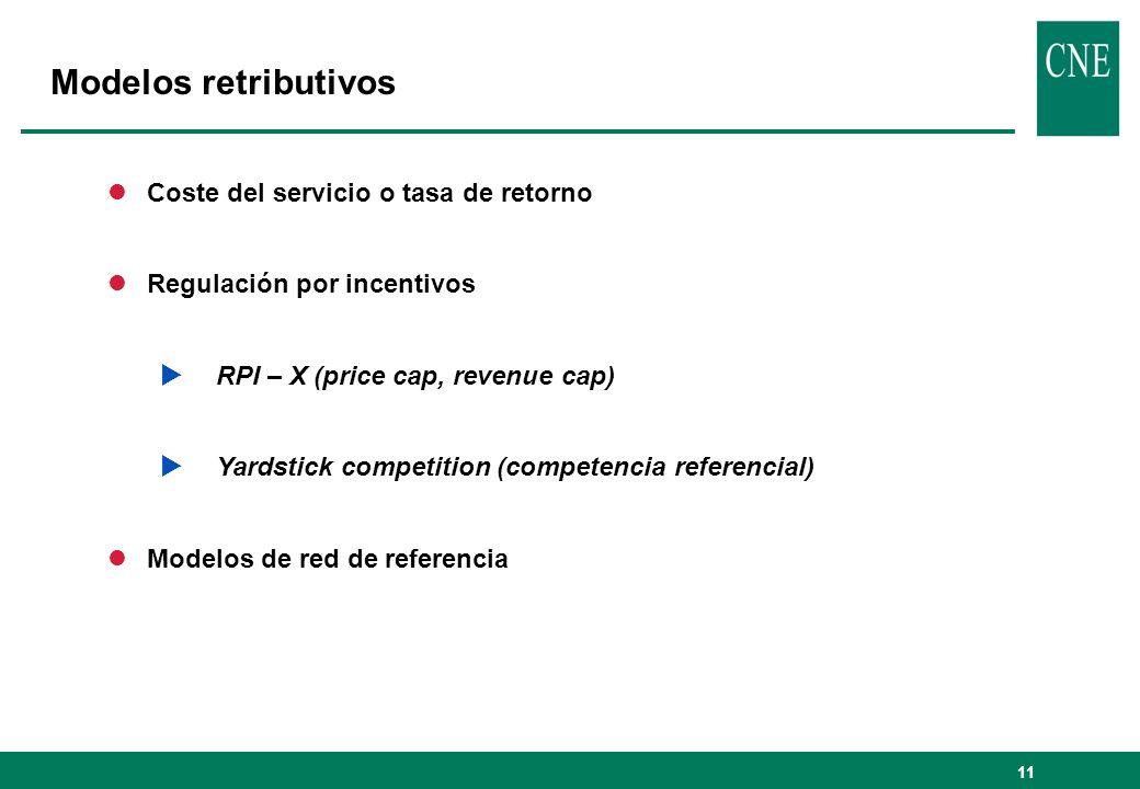 11 lCoste del servicio o tasa de retorno lRegulación por incentivos RPI – X (price cap, revenue cap) Yardstick competition (competencia referencial) lModelos de red de referencia Modelos retributivos