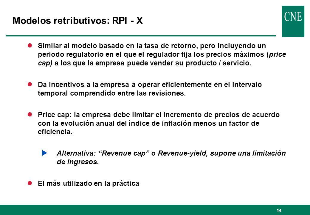 14 lSimilar al modelo basado en la tasa de retorno, pero incluyendo un periodo regulatorio en el que el regulador fija los precios máximos (price cap) a los que la empresa puede vender su producto / servicio.