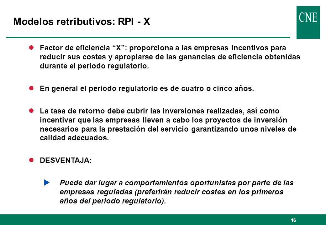 16 lFactor de eficiencia X: proporciona a las empresas incentivos para reducir sus costes y apropiarse de las ganancias de eficiencia obtenidas durante el periodo regulatorio.