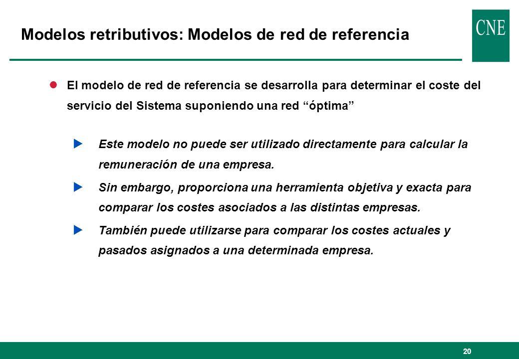 20 lEl modelo de red de referencia se desarrolla para determinar el coste del servicio del Sistema suponiendo una red óptima Este modelo no puede ser utilizado directamente para calcular la remuneración de una empresa.