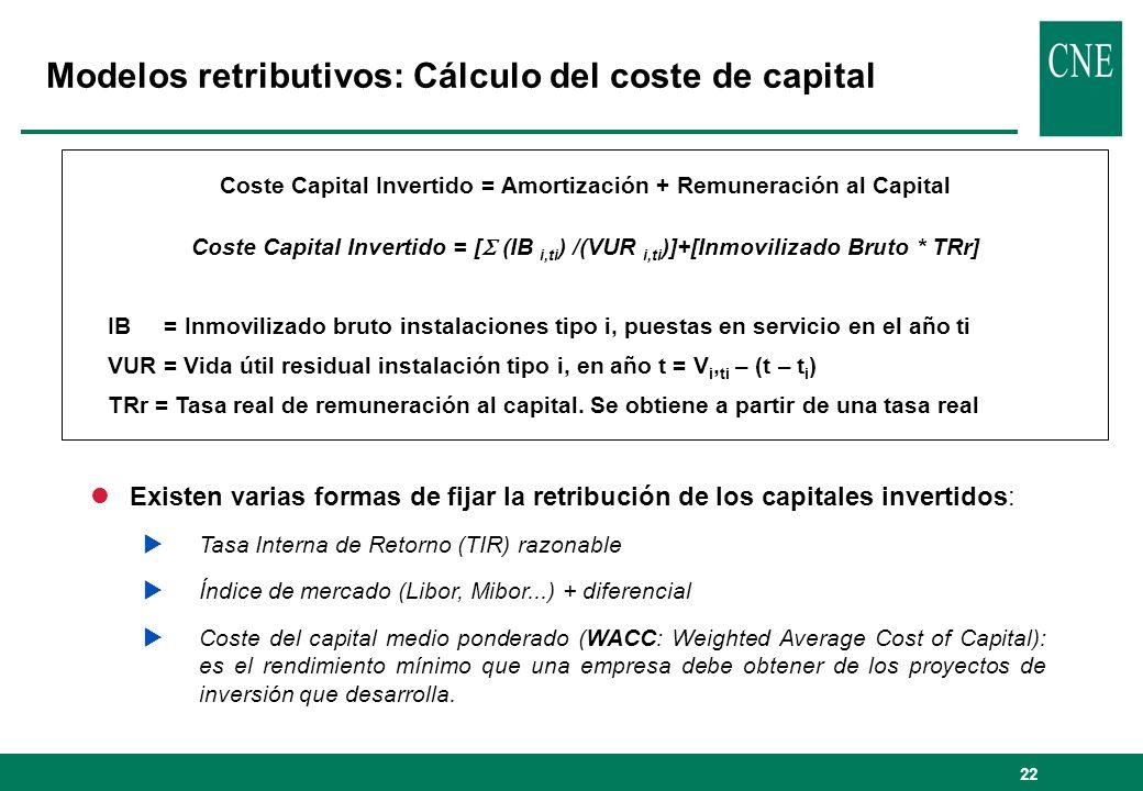 22 Coste Capital Invertido = Amortización + Remuneración al Capital Coste Capital Invertido = [ (IB i,ti ) /(VUR i,ti )]+[Inmovilizado Bruto * TRr] IB = Inmovilizado bruto instalaciones tipo i, puestas en servicio en el año ti VUR = Vida útil residual instalación tipo i, en año t = V i, ti – (t – t i ) TRr = Tasa real de remuneración al capital.