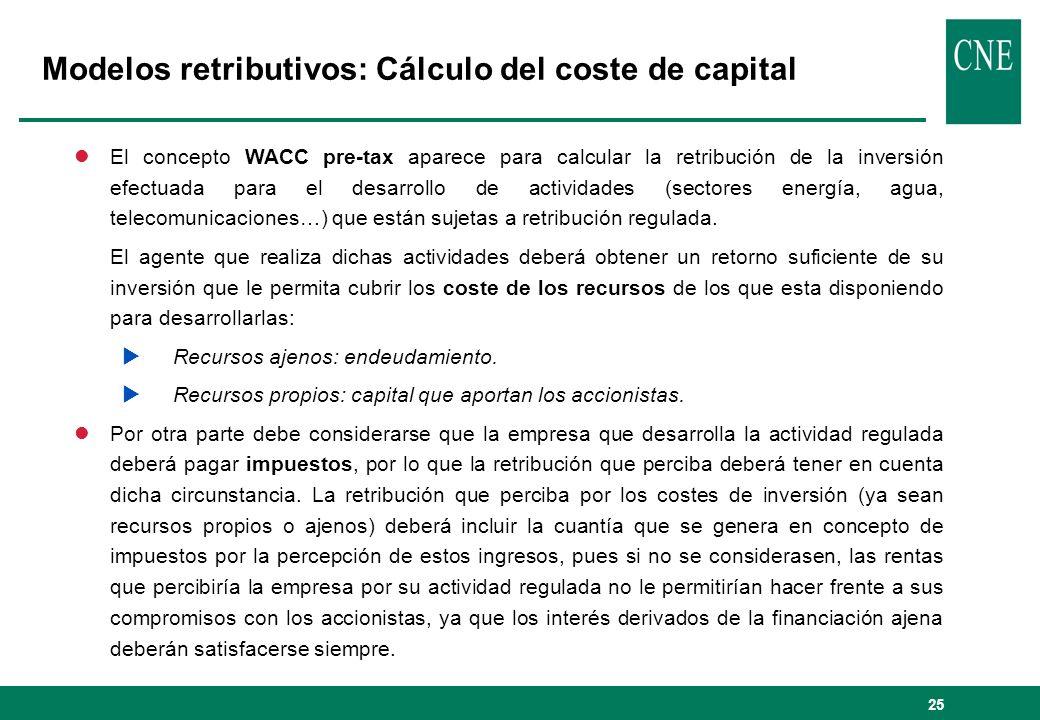 25 Modelos retributivos: Cálculo del coste de capital lEl concepto WACC pre-tax aparece para calcular la retribución de la inversión efectuada para el desarrollo de actividades (sectores energía, agua, telecomunicaciones…) que están sujetas a retribución regulada.