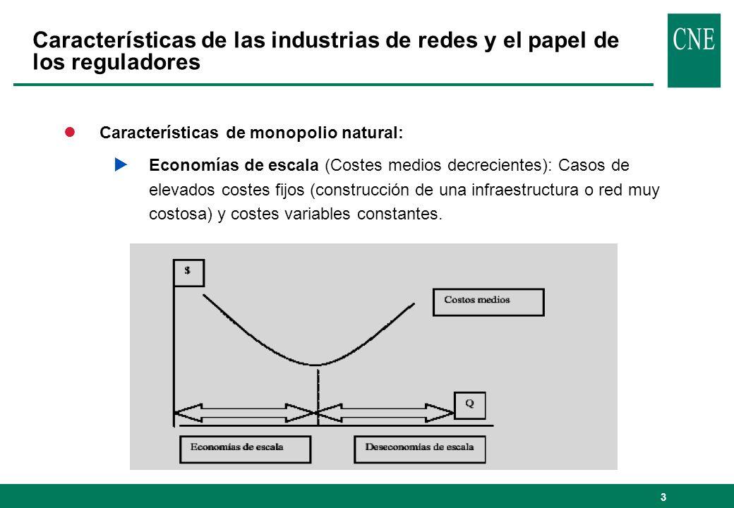 3 lCaracterísticas de monopolio natural: Economías de escala (Costes medios decrecientes): Casos de elevados costes fijos (construcción de una infraestructura o red muy costosa) y costes variables constantes.