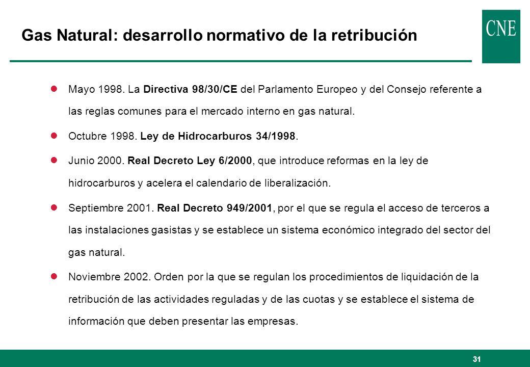 31 lMayo 1998. La Directiva 98/30/CE del Parlamento Europeo y del Consejo referente a las reglas comunes para el mercado interno en gas natural. lOctu