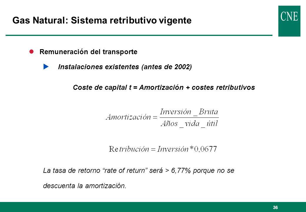36 lRemuneración del transporte Instalaciones existentes (antes de 2002) Coste de capital t = Amortización + costes retributivos La tasa de retorno rate of return será > 6,77% porque no se descuenta la amortización.