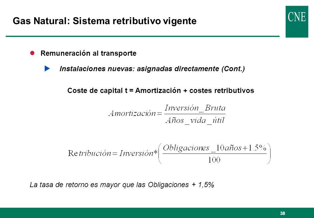 38 lRemuneración al transporte Instalaciones nuevas: asignadas directamente (Cont.) Coste de capital t = Amortización + costes retributivos La tasa de retorno es mayor que las Obligaciones + 1,5% Gas Natural: Sistema retributivo vigente