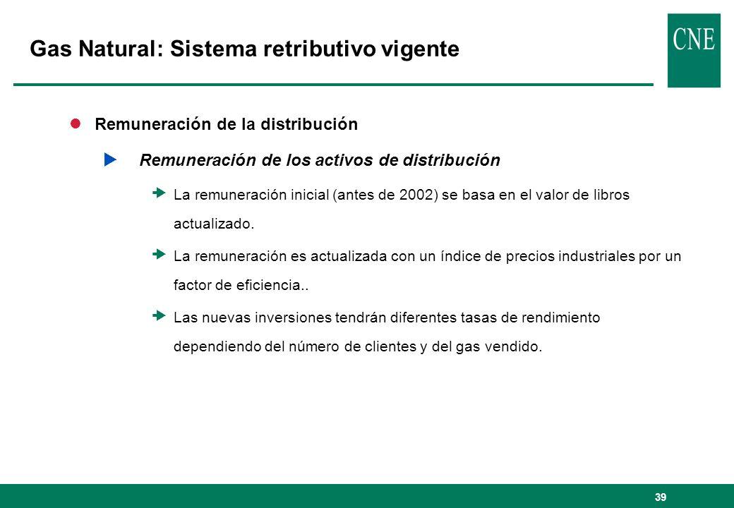 39 lRemuneración de la distribución Remuneración de los activos de distribución La remuneración inicial (antes de 2002) se basa en el valor de libros actualizado.