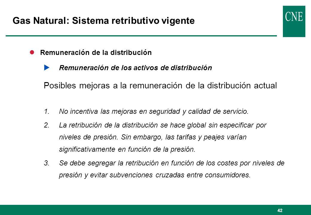 42 lRemuneración de la distribución Remuneración de los activos de distribución Posibles mejoras a la remuneración de la distribución actual 1.No incentiva las mejoras en seguridad y calidad de servicio.