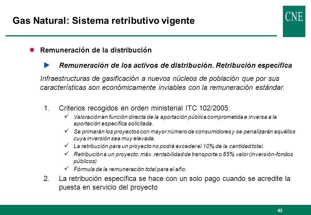 43 lRemuneración de la distribución Remuneración de los activos de distribución. Retribución específica Infraestructuras de gasificación a nuevos núcl
