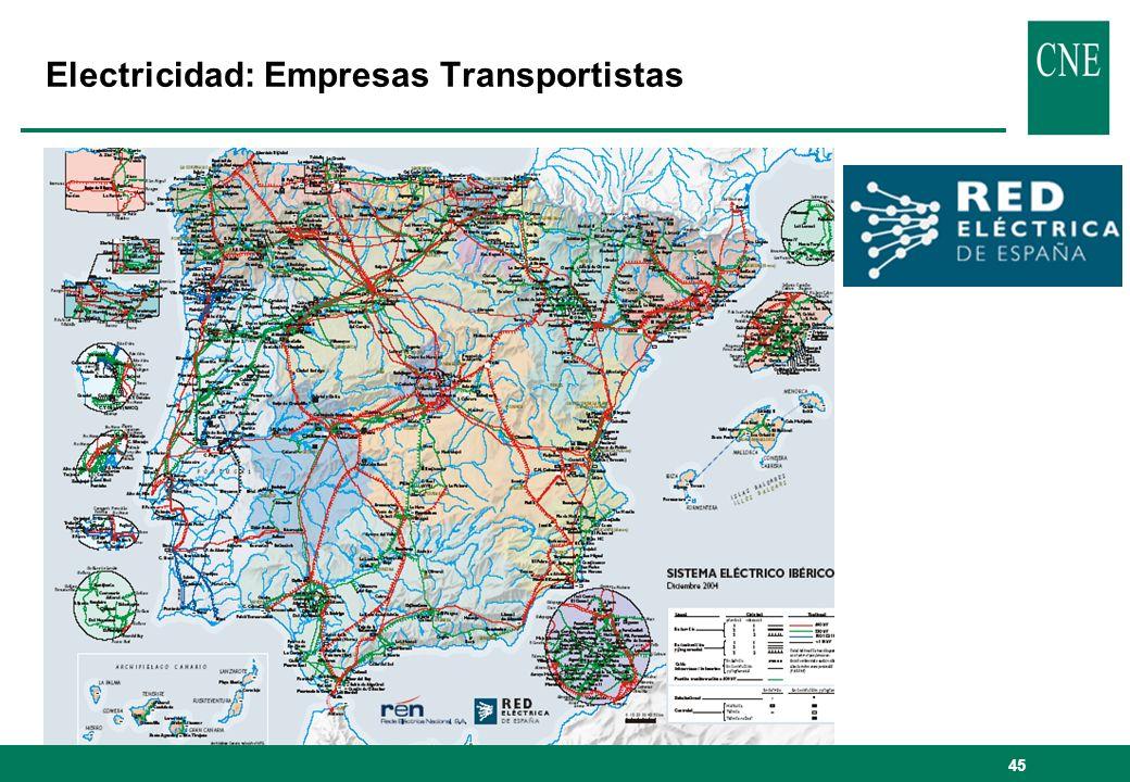 45 Electricidad: Empresas Transportistas