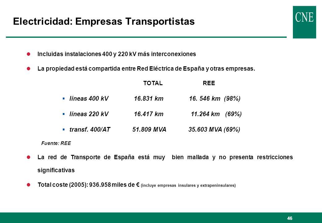 46 Electricidad: Empresas Transportistas lIncluidas instalaciones 400 y 220 kV más interconexiones lLa propiedad está compartida entre Red Eléctrica d
