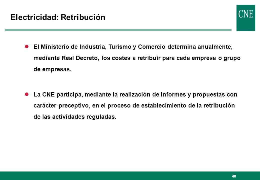 48 Electricidad: Retribución lEl Ministerio de Industria, Turismo y Comercio determina anualmente, mediante Real Decreto, los costes a retribuir para cada empresa o grupo de empresas.