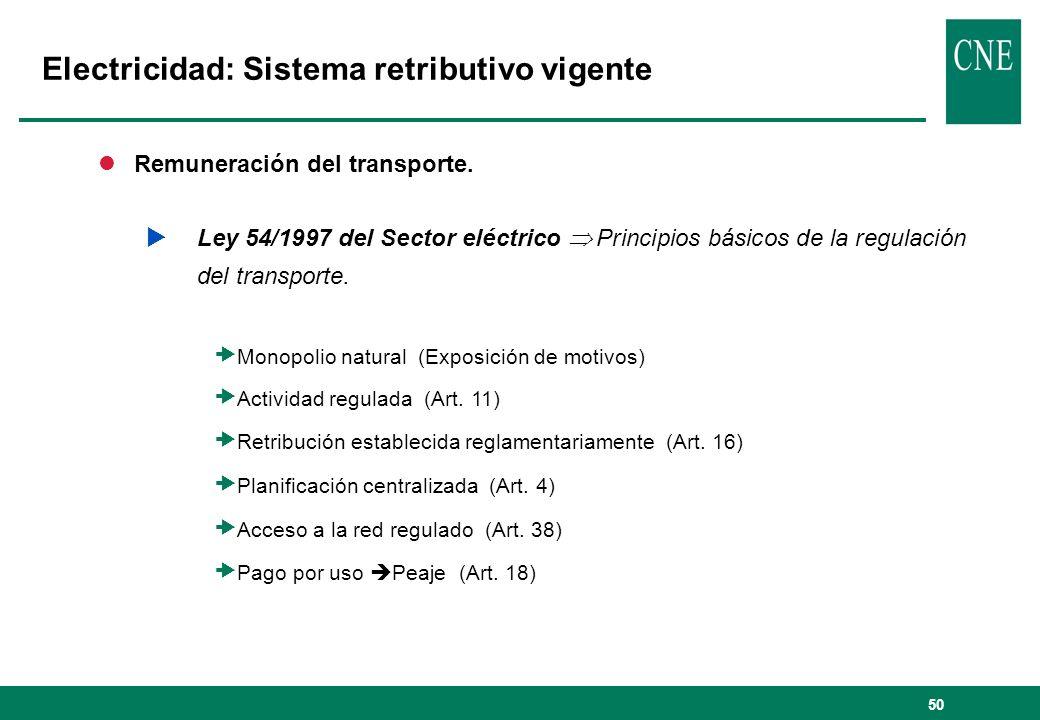 50 lRemuneración del transporte. Ley 54/1997 del Sector eléctrico Principios básicos de la regulación del transporte. Monopolio natural (Exposición de