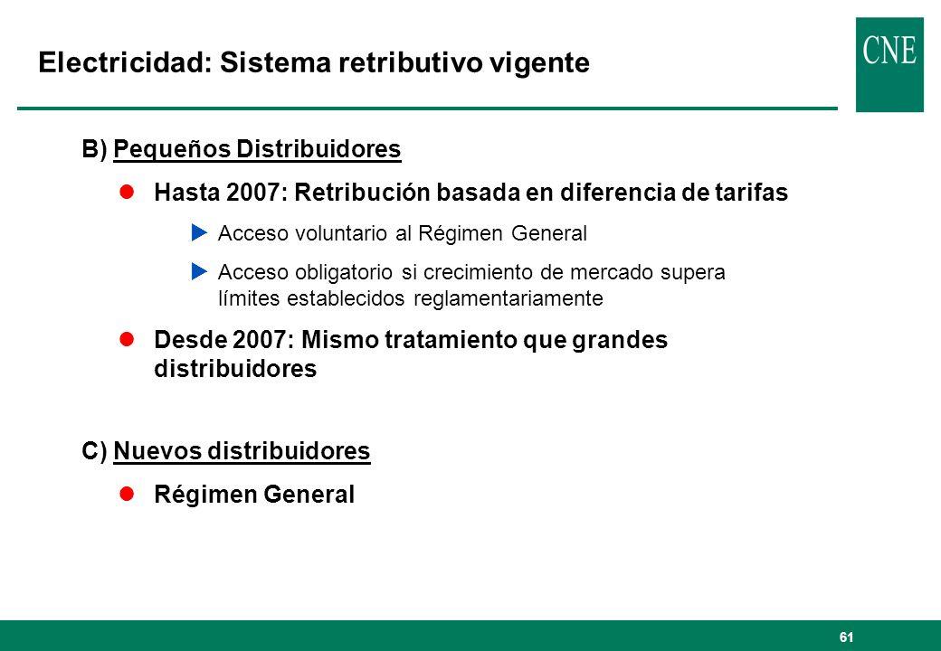 61 Electricidad: Sistema retributivo vigente B) Pequeños Distribuidores lHasta 2007: Retribución basada en diferencia de tarifas Acceso voluntario al