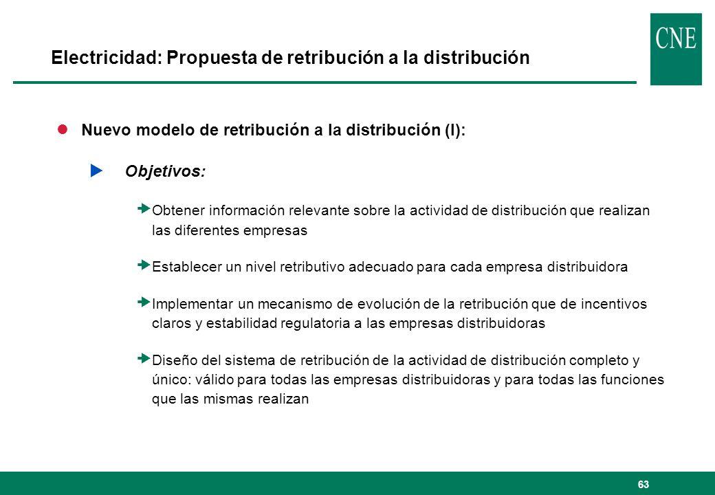 63 Electricidad: Propuesta de retribución a la distribución lNuevo modelo de retribución a la distribución (I): Objetivos: Obtener información relevan