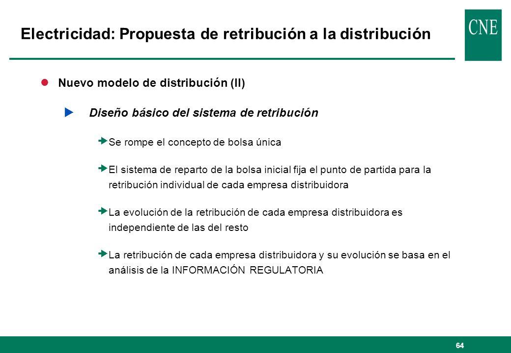 64 lNuevo modelo de distribución (II) Diseño básico del sistema de retribución Se rompe el concepto de bolsa única El sistema de reparto de la bolsa i