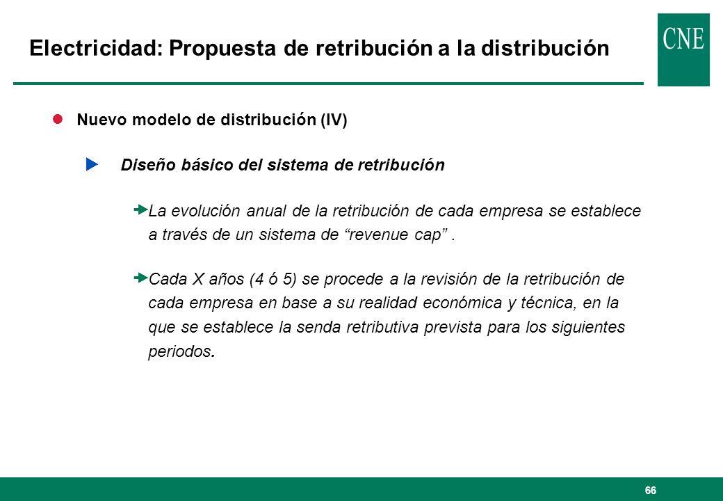 66 lNuevo modelo de distribución (IV) Diseño básico del sistema de retribución La evolución anual de la retribución de cada empresa se establece a través de un sistema de revenue cap.
