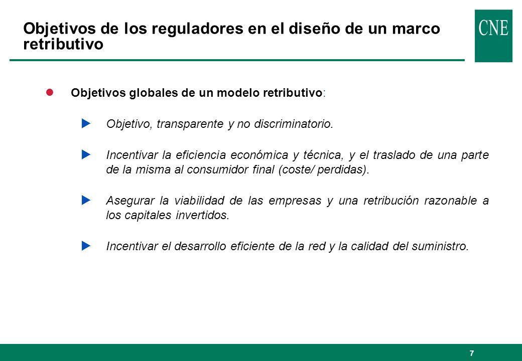 7 lObjetivos globales de un modelo retributivo: Objetivo, transparente y no discriminatorio. Incentivar la eficiencia económica y técnica, y el trasla