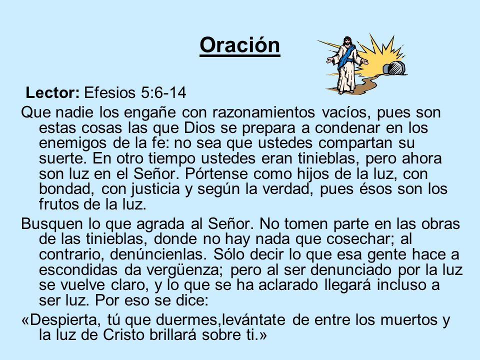 Oración Lector: Efesios 5:6-14 Que nadie los engañe con razonamientos vacíos, pues son estas cosas las que Dios se prepara a condenar en los enemigos de la fe: no sea que ustedes compartan su suerte.