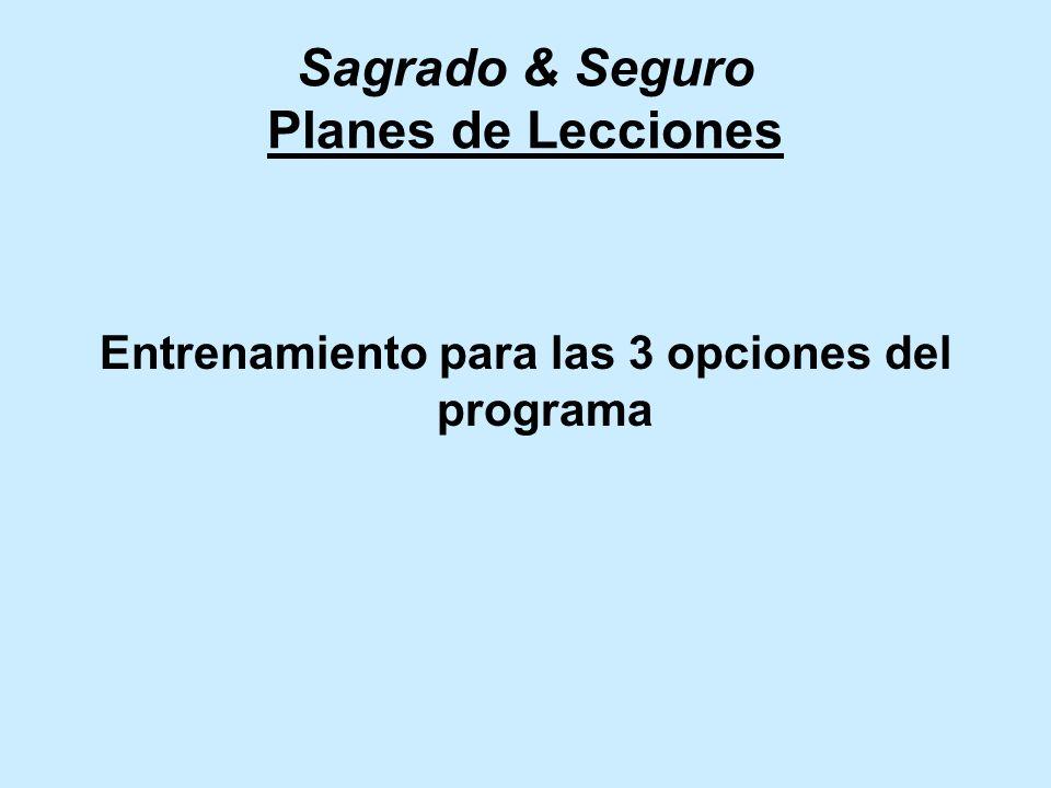 Sagrado & Seguro Planes de Lecciones Entrenamiento para las 3 opciones del programa