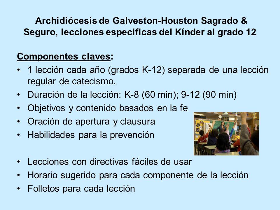 Archidiócesis de Galveston-Houston Sagrado & Seguro, lecciones especificas del Kínder al grado 12 Componentes claves: 1 lección cada año (grados K-12) separada de una lección regular de catecismo.