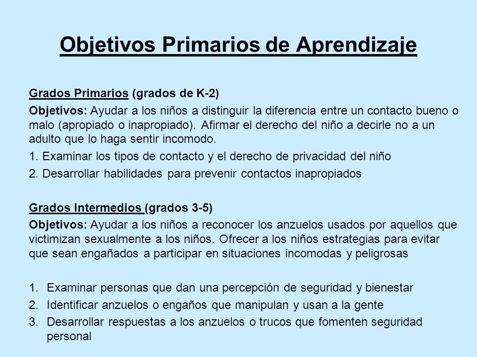 Objetivos Primarios de Aprendizaje Grados Primarios (grados de K-2) Objetivos: Ayudar a los niños a distinguir la diferencia entre un contacto bueno o malo (apropiado o inapropiado).
