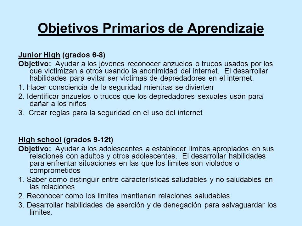 Objetivos Primarios de Aprendizaje Junior High (grados 6-8) Objetivo: Ayudar a los jóvenes reconocer anzuelos o trucos usados por los que victimizan a otros usando la anonimidad del internet.