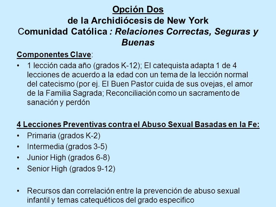 Opción Uno Arquidiócesis de Galveston-Houston Sagrado y Seguro, lecciones específicas por grado desde K-12 Cada grado: recursos para los padres que re
