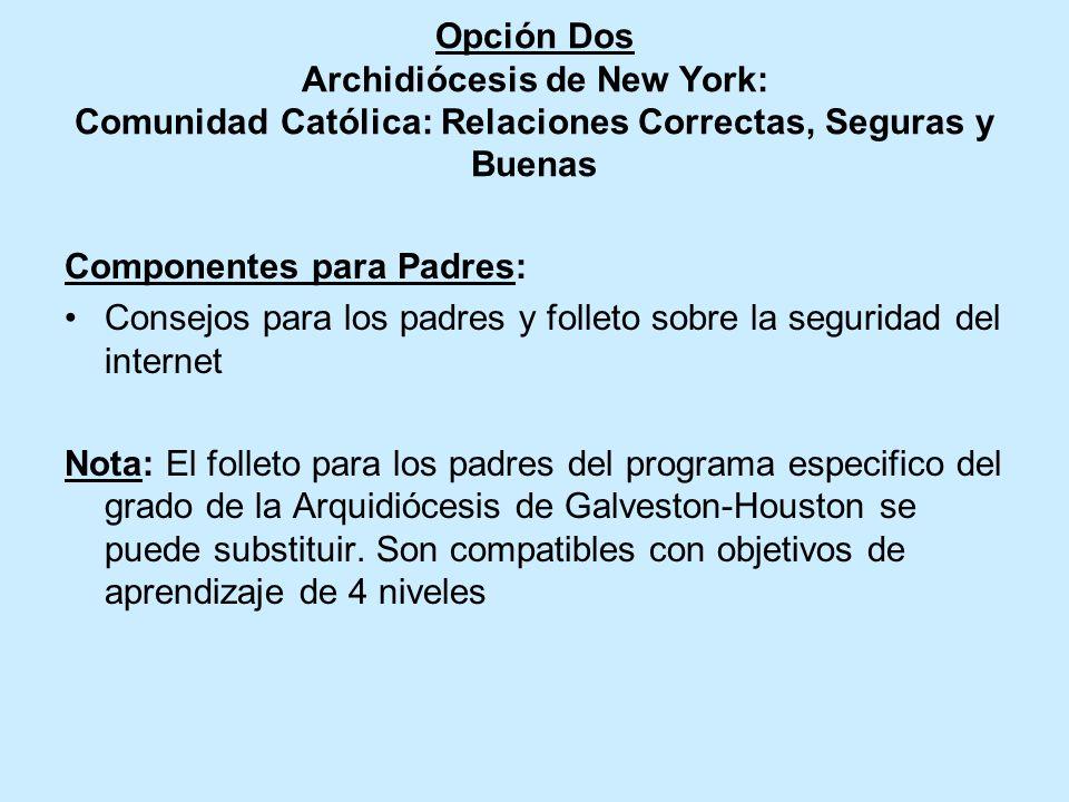 Opción Dos de la Archidiócesis de New York Comunidad Católica : Relaciones Correctas, Seguras y Buenas Componentes Clave: 1 lección cada año (grados K
