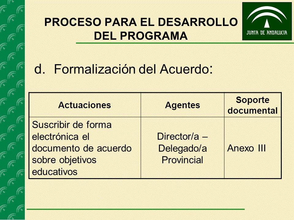 d. Formalización del Acuerdo : ActuacionesAgentes Soporte documental Suscribir de forma electrónica el documento de acuerdo sobre objetivos educativos