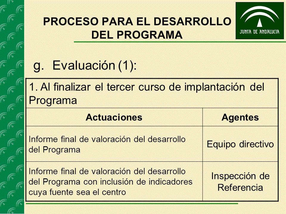 g. Evaluación (1): 1. Al finalizar el tercer curso de implantación del Programa ActuacionesAgentes Informe final de valoración del desarrollo del Prog