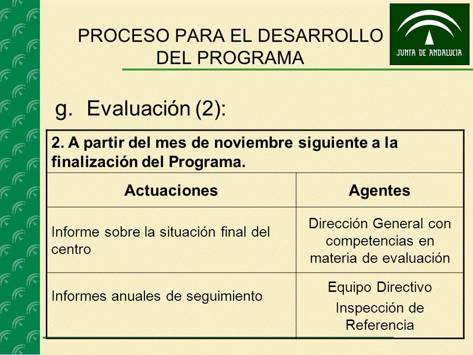 g. Evaluación (2): 2. A partir del mes de noviembre siguiente a la finalización del Programa. ActuacionesAgentes Informe sobre la situación final del