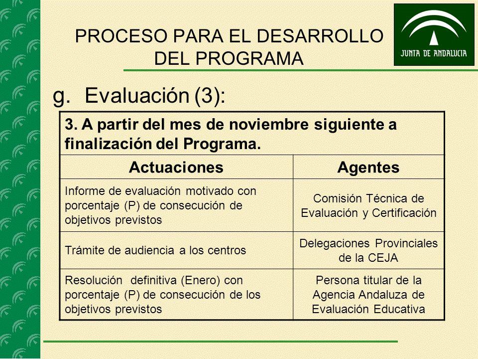 g. Evaluación (3): PROCESO PARA EL DESARROLLO DEL PROGRAMA 3. A partir del mes de noviembre siguiente a finalización del Programa. ActuacionesAgentes