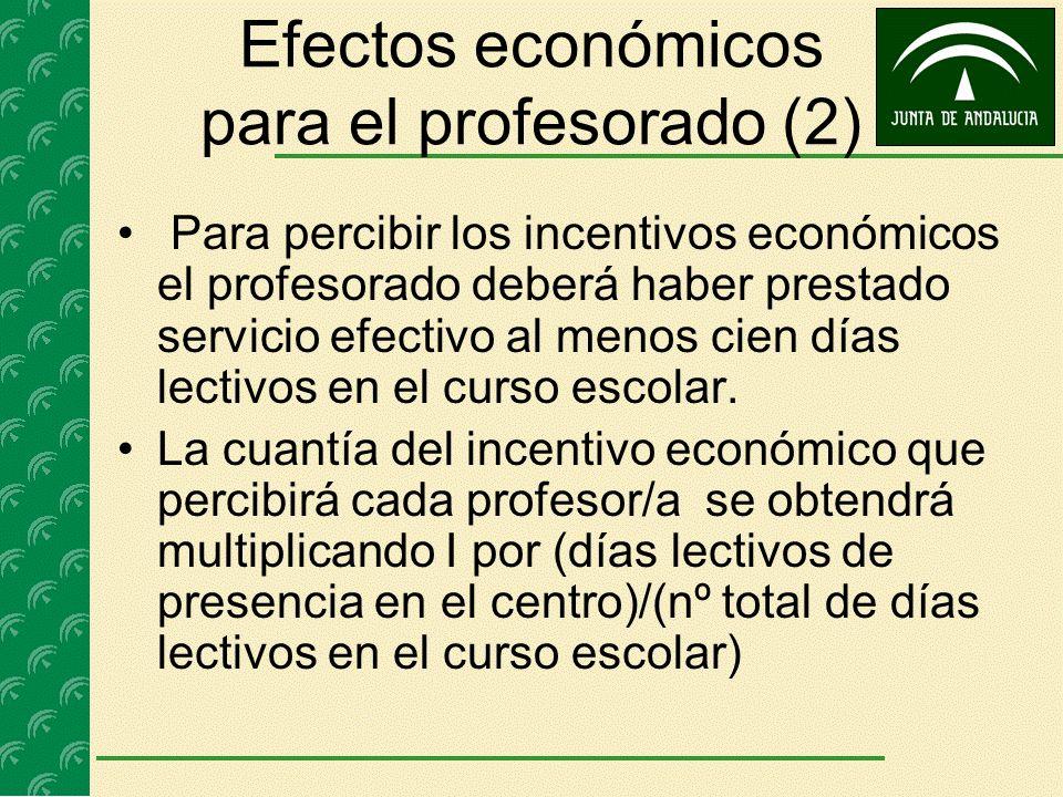 Efectos económicos para el profesorado (2) Para percibir los incentivos económicos el profesorado deberá haber prestado servicio efectivo al menos cie