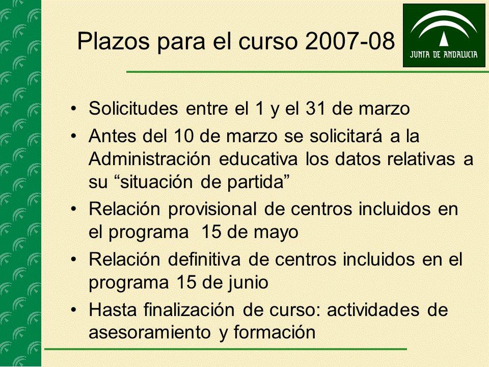 Plazos para el curso 2007-08 Solicitudes entre el 1 y el 31 de marzo Antes del 10 de marzo se solicitará a la Administración educativa los datos relat