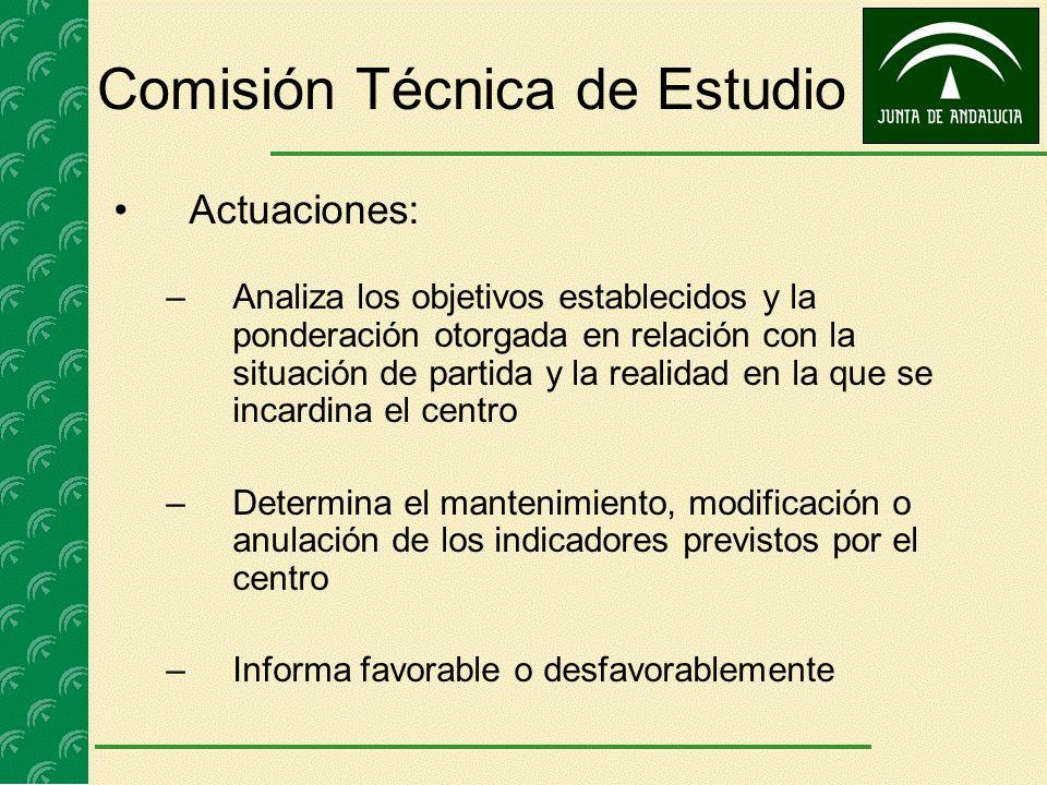 Comisión Técnica de Estudio Actuaciones: –Analiza los objetivos establecidos y la ponderación otorgada en relación con la situación de partida y la re