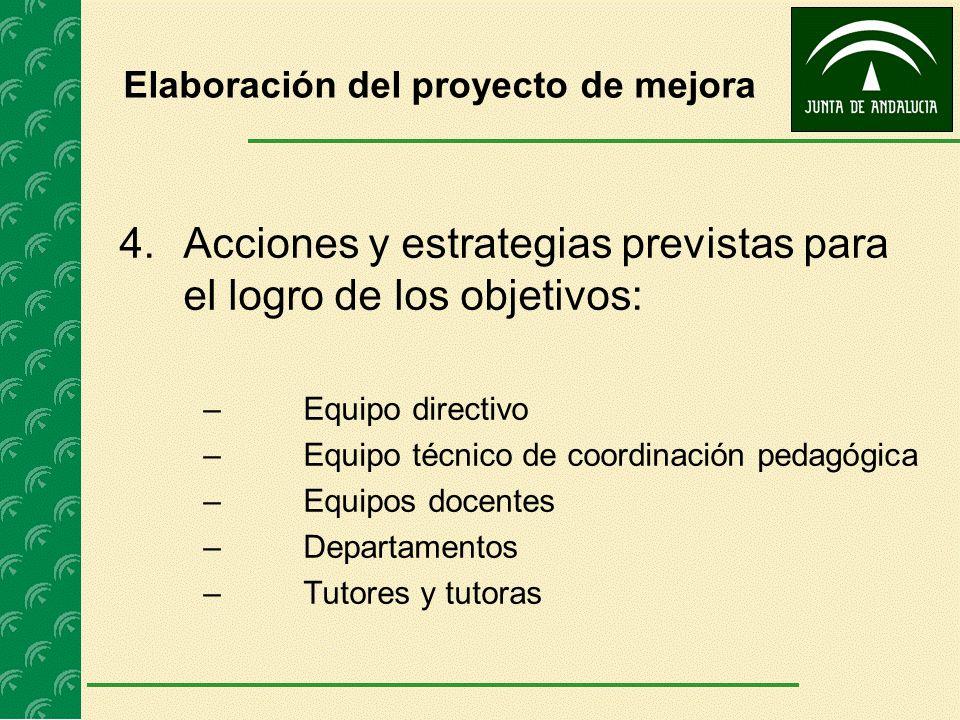 Elaboración del proyecto de mejora 4.Acciones y estrategias previstas para el logro de los objetivos: – Equipo directivo – Equipo técnico de coordinac
