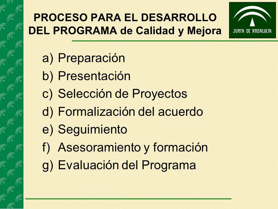 PROCESO PARA EL DESARROLLO DEL PROGRAMA de Calidad y Mejora a)Preparación b)Presentación c)Selección de Proyectos d)Formalización del acuerdo e)Seguim