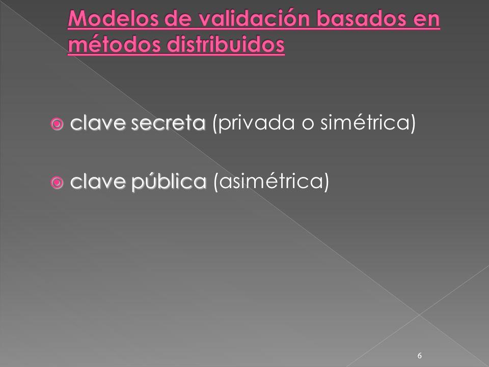 clave secreta clave secreta (privada o simétrica) clave pública clave pública (asimétrica) 6