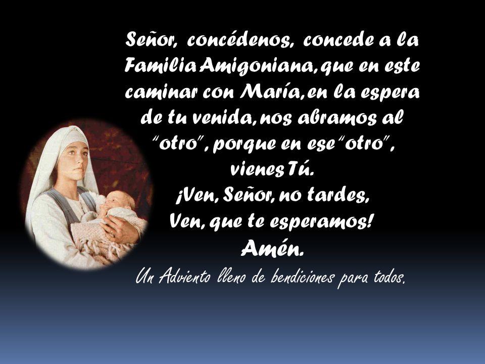 Señor, concédenos, concede a la Familia Amigoniana, que en este caminar con María, en la espera de tu venida, nos abramos al otro, porque en ese otro, vienes Tú.
