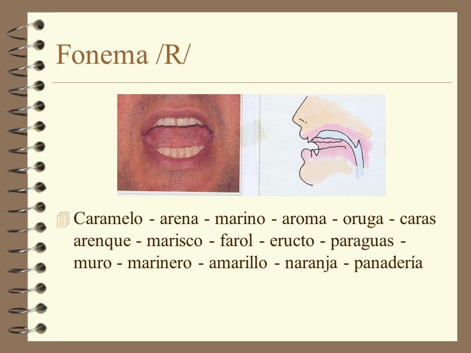 Fonema /R/ 4 Caramelo - arena - marino - aroma - oruga - caras arenque - marisco - farol - eructo - paraguas - muro - marinero - amarillo - naranja -