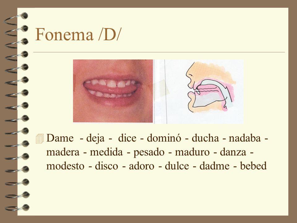 Fonema /D/ 4 Dame - deja - dice - dominó - ducha - nadaba - madera - medida - pesado - maduro - danza - modesto - disco - adoro - dulce - dadme - bebe